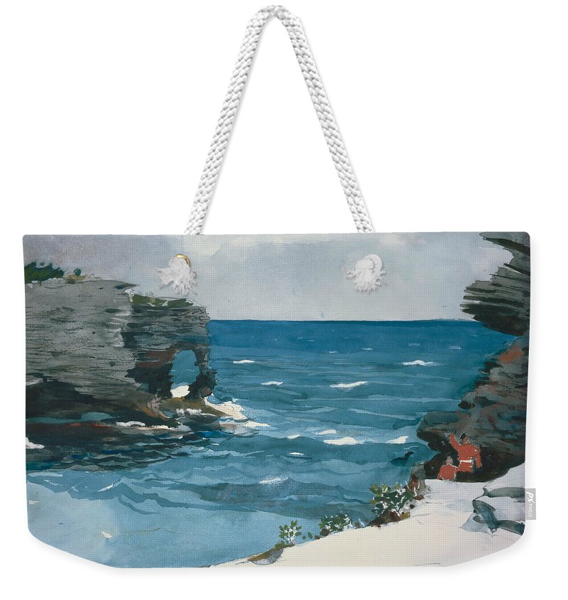 Winslow Homer Weekender Tote Bag featuring the painting Rocky Shore, Bermuda by Winslow Homer