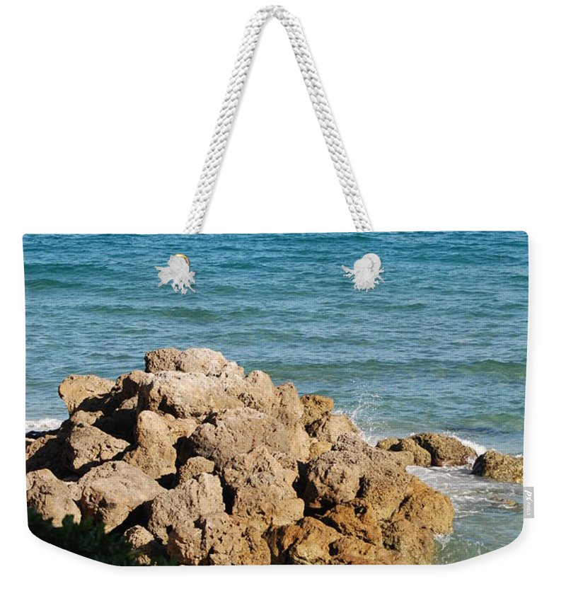 Sea Scape Weekender Tote Bag featuring the photograph Rocky Shoreline by Rob Hans