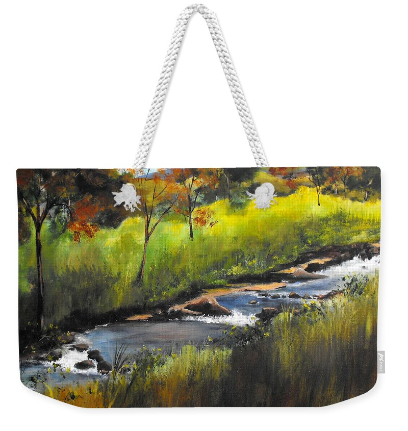 Landscape Weekender Tote Bag featuring the painting Rocky Stream by Ruth Palmer
