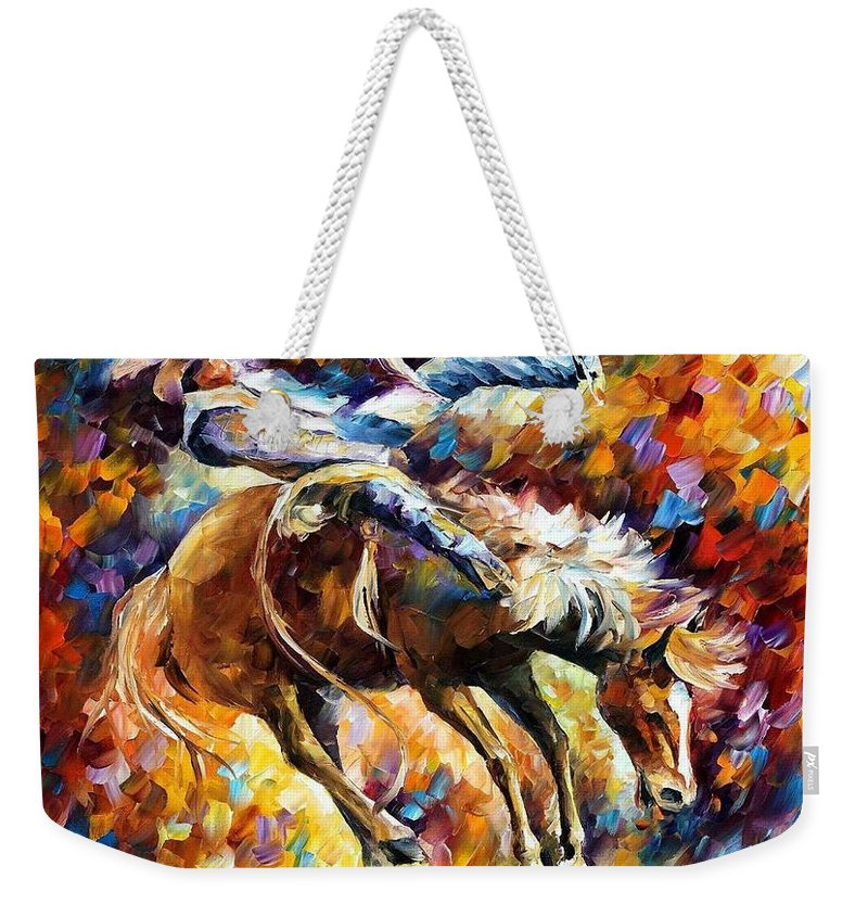 Afremov Weekender Tote Bag featuring the painting Rodeo by Leonid Afremov