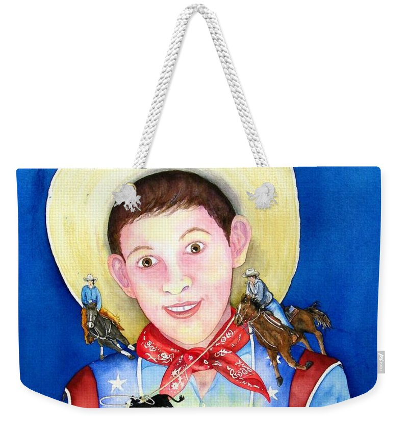 Boy Weekender Tote Bag featuring the painting Rodeo Magic by Gale Cochran-Smith