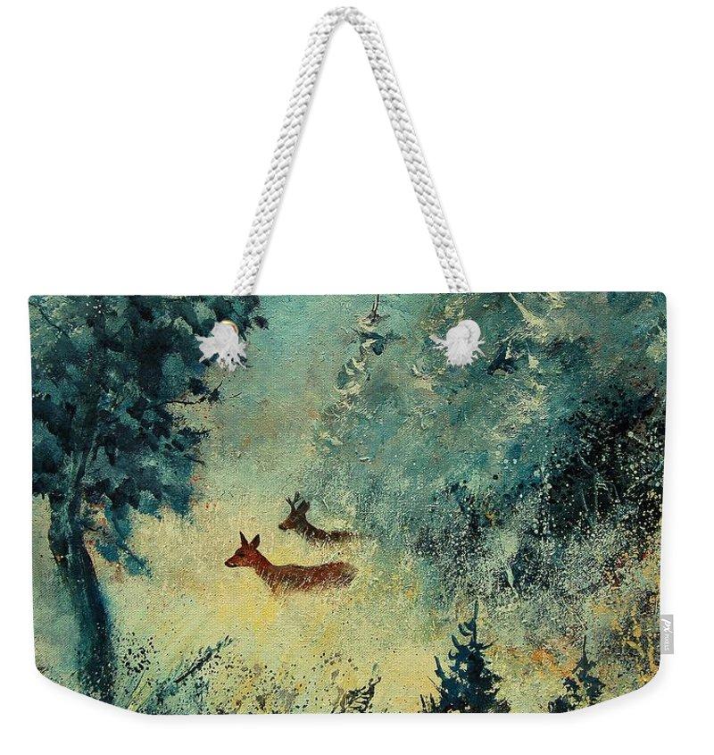 Animal Weekender Tote Bag featuring the painting Roe Deers In September Morning Light by Pol Ledent
