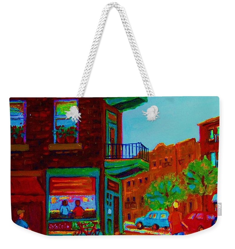 Wilenskys Weekender Tote Bag featuring the painting Rollerblading Past The Cafe by Carole Spandau