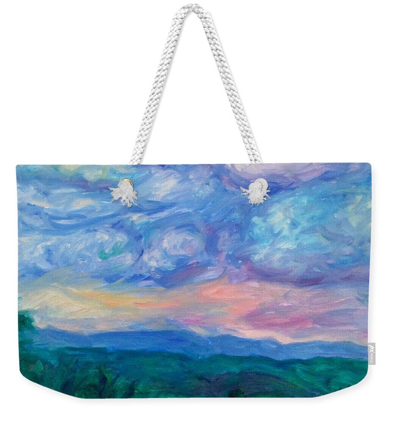 Landscape Weekender Tote Bag featuring the painting Rolling Beauty Stage One by Kendall Kessler