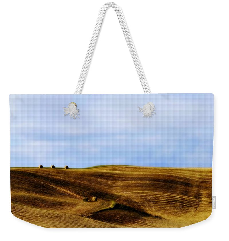 Italy Weekender Tote Bag featuring the photograph Rolling Hills Of Hay by Marilyn Hunt