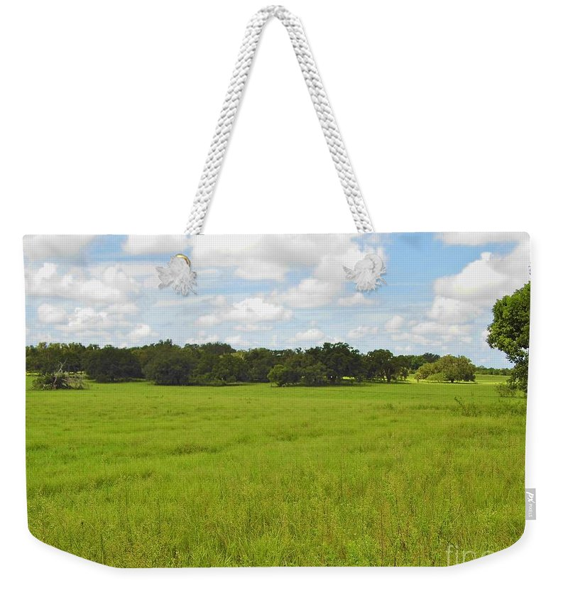Blue Sky Weekender Tote Bag featuring the photograph Rolling Pasture by D Hackett