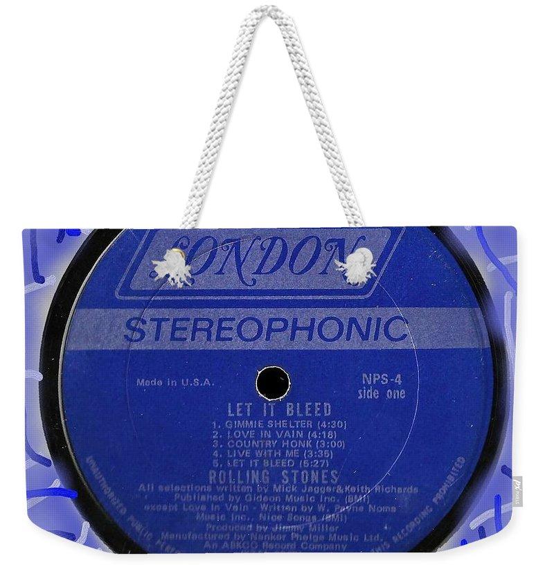 Rolling Stones Weekender Tote Bag featuring the digital art Rolling Stones Let It Bleed Lp Label by Doug Siegel