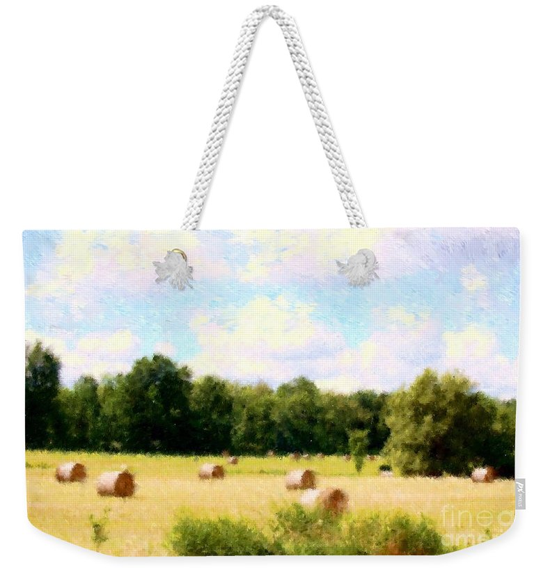 Nature Weekender Tote Bag featuring the photograph Rolling The Hay by David Lane