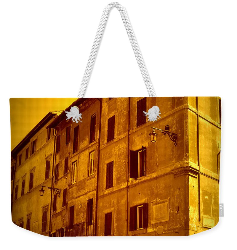 Italy Weekender Tote Bag featuring the photograph Roman Cafe With Golden Sepia 2 by Carol Groenen