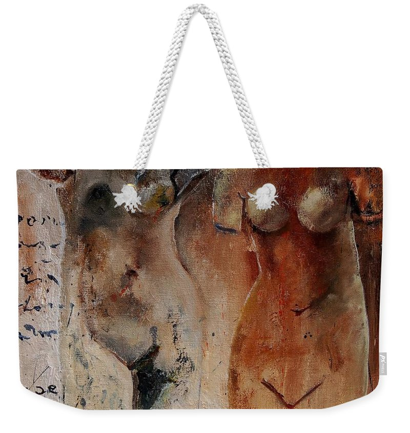 Nude Weekender Tote Bag featuring the painting Roman Nudes 45 by Pol Ledent