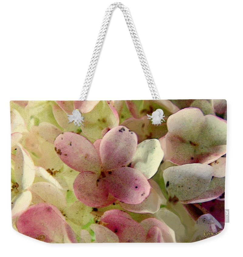 Floral Weekender Tote Bag featuring the digital art Romance In Pink And Green by RC DeWinter
