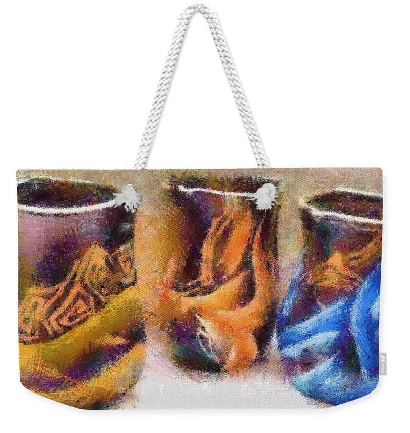 Romania Weekender Tote Bag featuring the painting Romanian Vases by Jeffrey Kolker