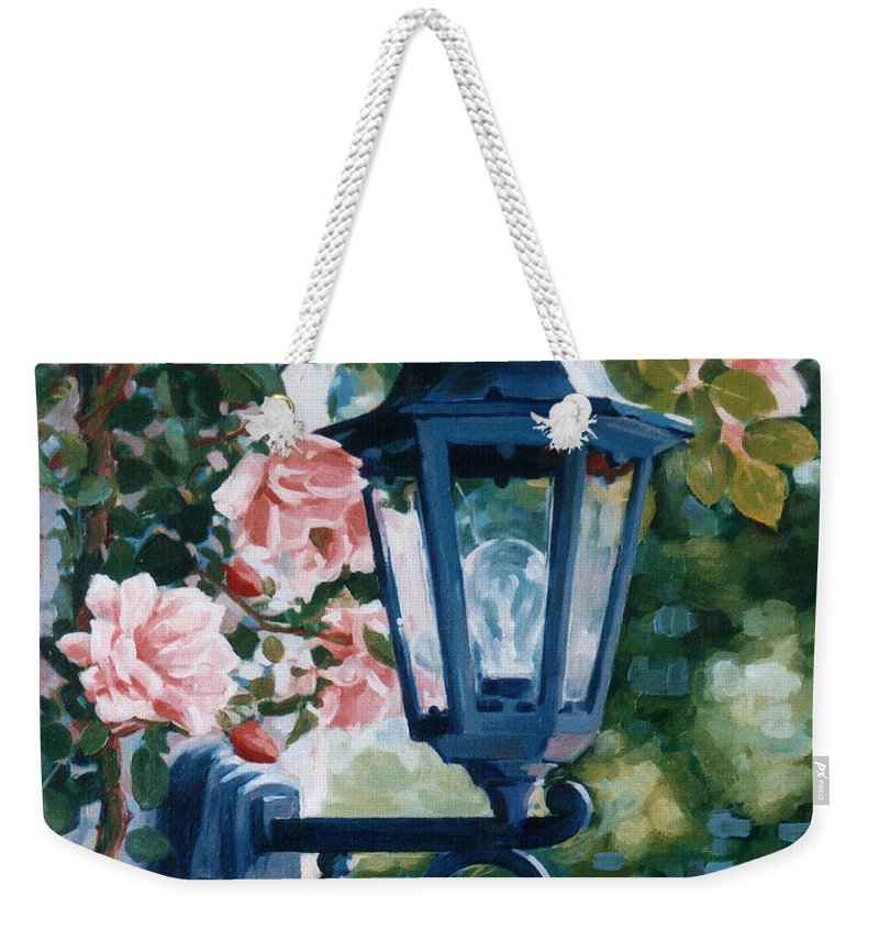Roses Weekender Tote Bag featuring the painting Romantic Fragrance by Iliyan Bozhanov