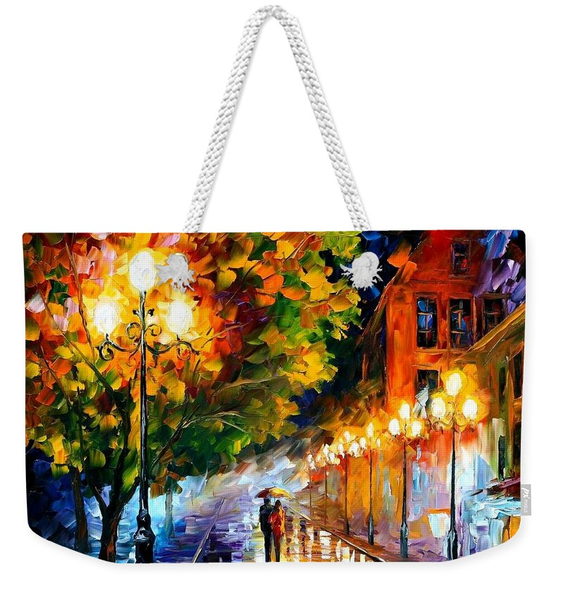 Afremov Weekender Tote Bag featuring the painting Romantic Night by Leonid Afremov
