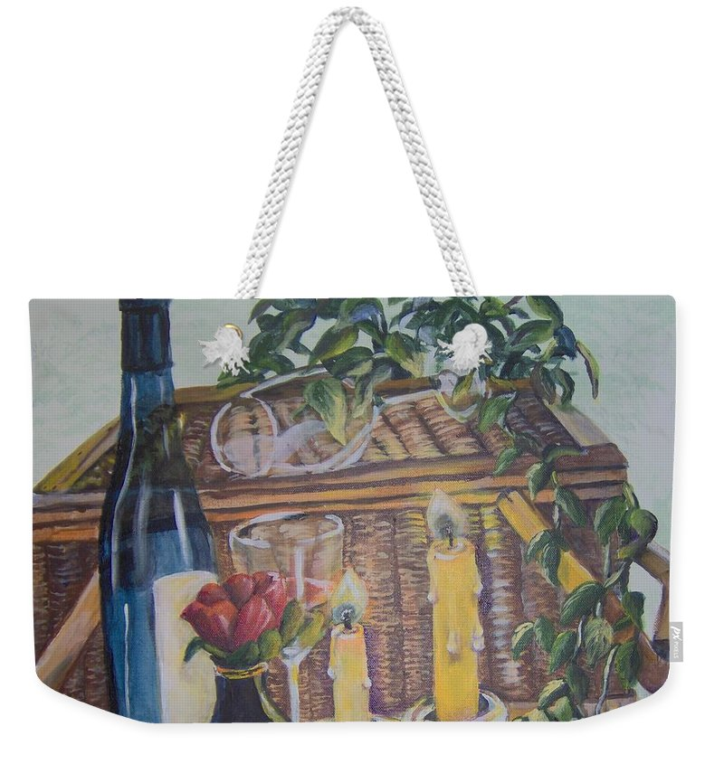 Picnic Weekender Tote Bag featuring the painting Romantic Picnic by Saundra Johnson
