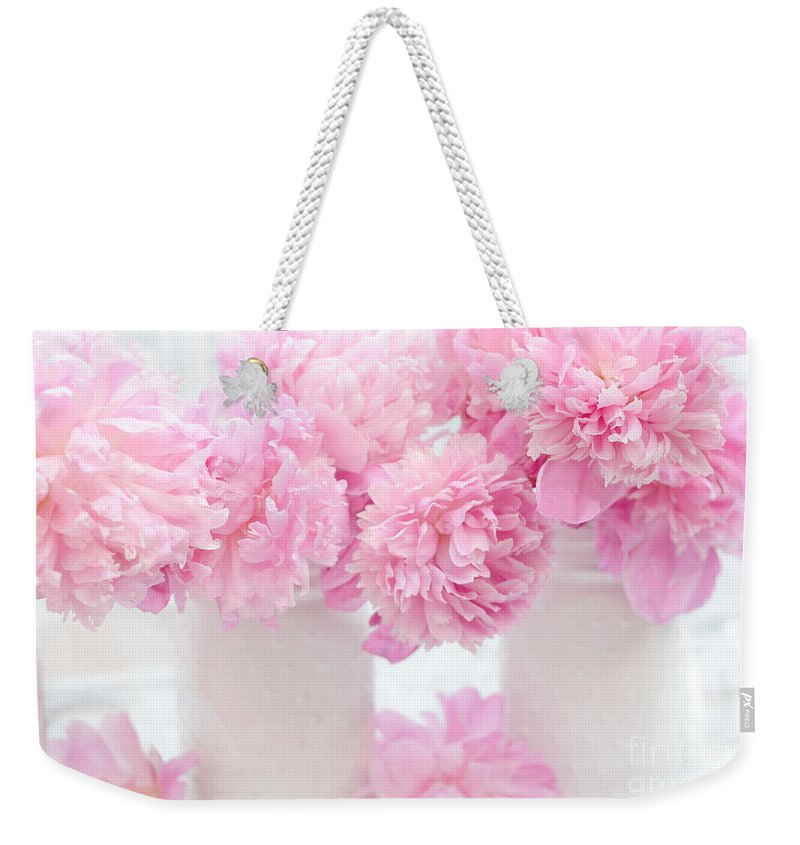 Shabby Chic Weekender Tote Bag featuring the photograph Shabby Chic Pastel Pink Peonies - Pink Peonies In White Mason Jars by Kathy Fornal