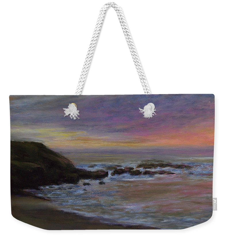 Landscape Weekender Tote Bag featuring the pastel Romantic Shore by Susan Jenkins
