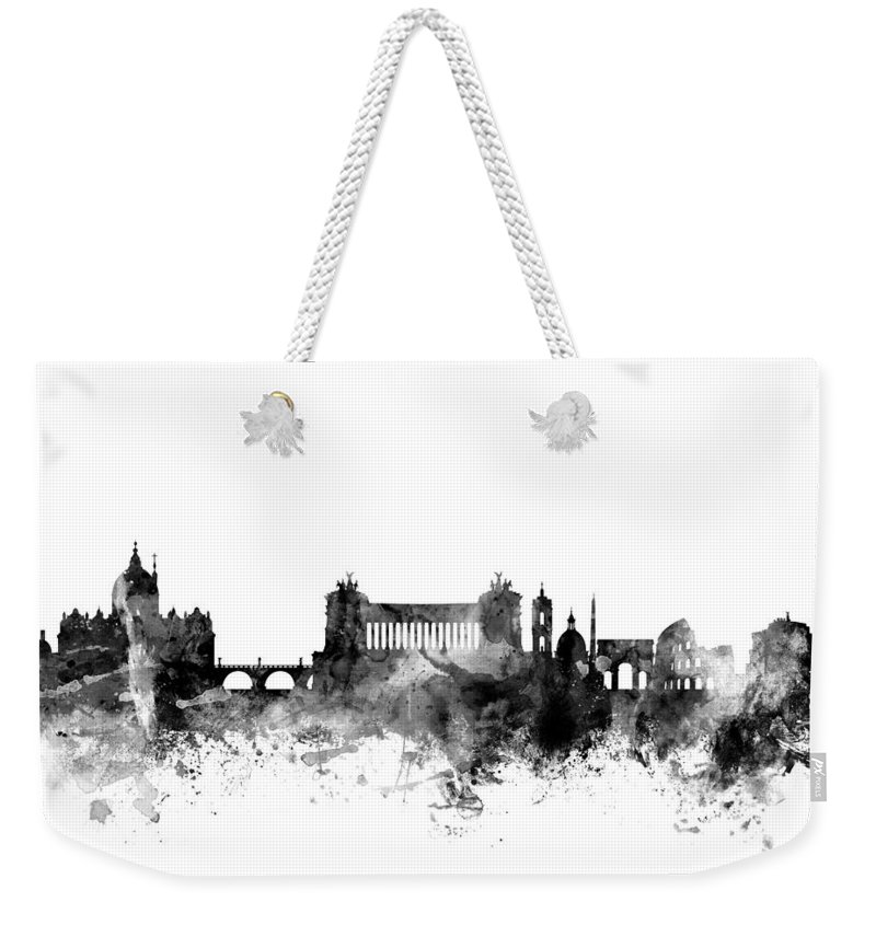 Rome Weekender Tote Bag featuring the digital art Rome Italy Skyline 4x5 Ratio by Michael Tompsett