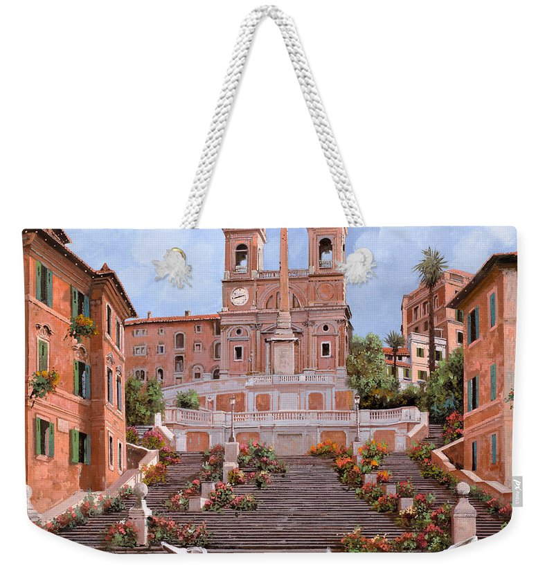 Rome Weekender Tote Bag featuring the painting Rome-piazza Di Spagna by Guido Borelli