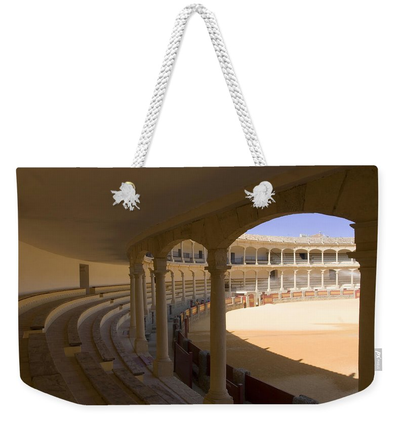 Bullfight Weekender Tote Bag featuring the photograph Ronda Bullring The Real Maestranza De Caballeria by Mal Bray