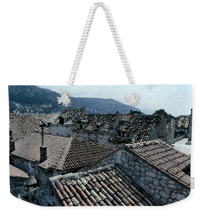 Dubrovnik Artwork Weekender Tote Bag featuring the digital art Roofs Of Dubrovnik by Donna Corless