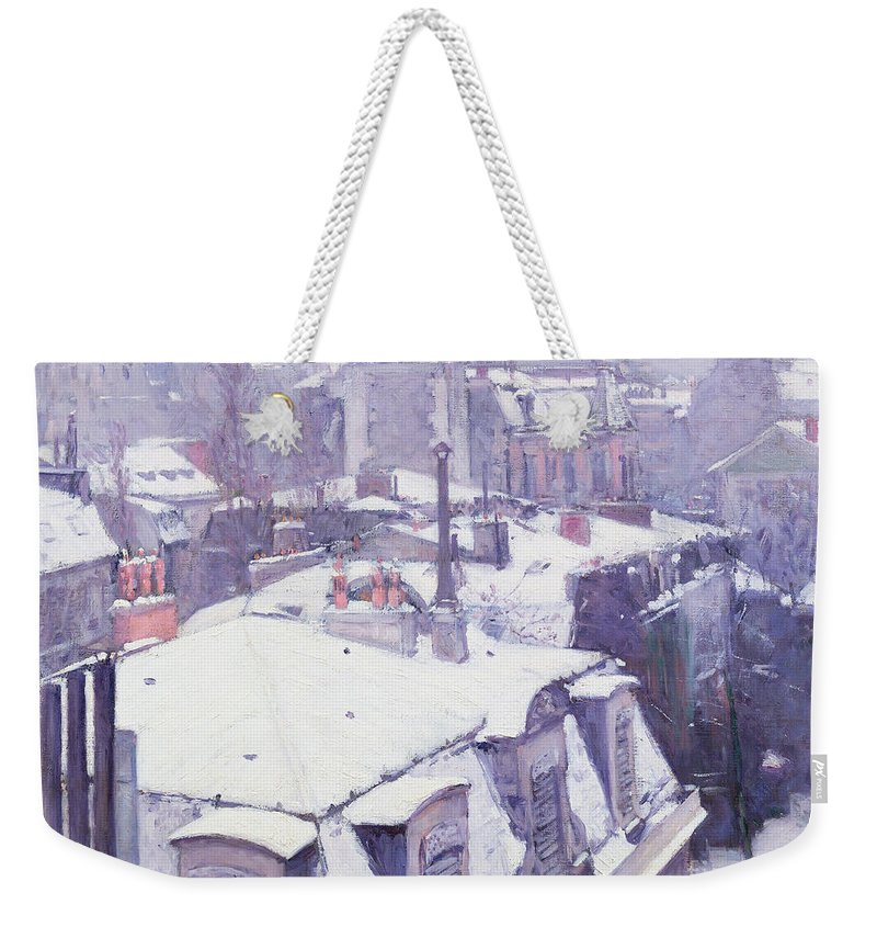 Snow Weekender Tote Bag featuring the painting Roofs Under Snow by Gustave Caillebotte