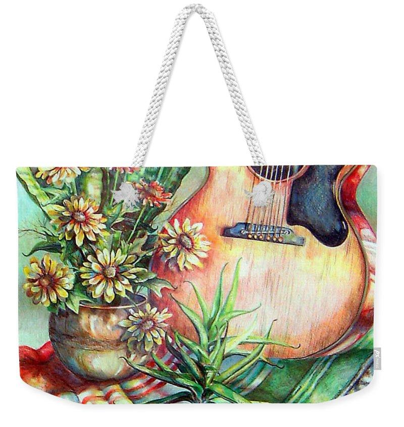 Guitar Weekender Tote Bag featuring the drawing Room For Guitar by Linda Shackelford