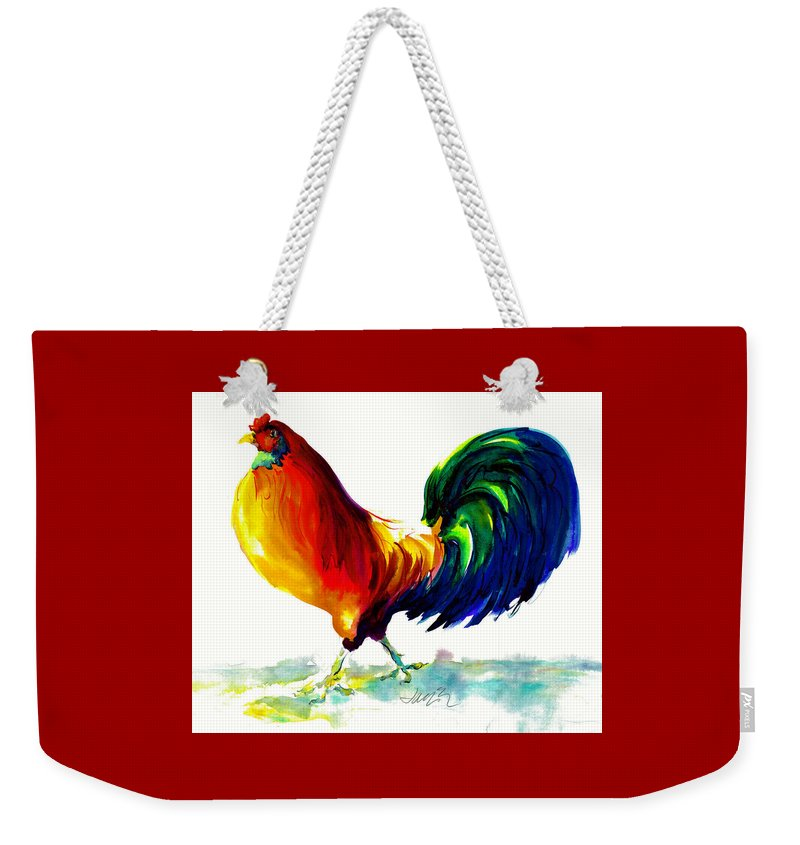 Painting With Exaggerated Colors Weekender Tote Bag featuring the painting Rooster - Big Napoleon by Jacki Kellum