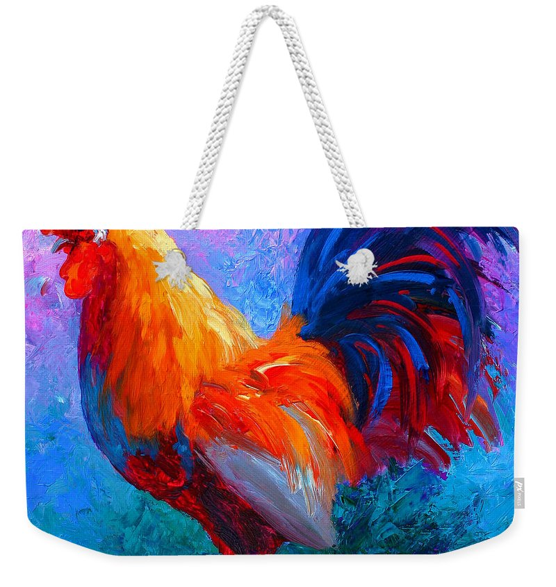 Rooster Weekender Tote Bag featuring the painting Rooster Bob by Marion Rose