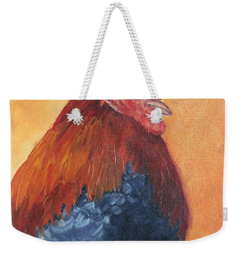 Animal Weekender Tote Bag featuring the painting Rooster by Todd A Blanchard