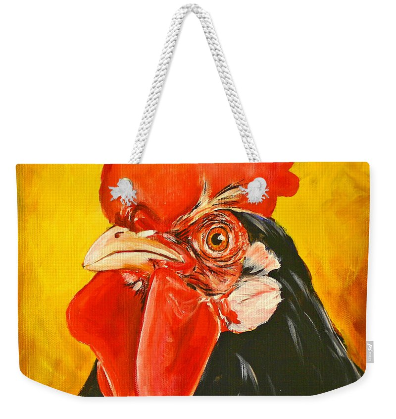 Rooster Weekender Tote Bag featuring the painting Rooster by Toni Grote