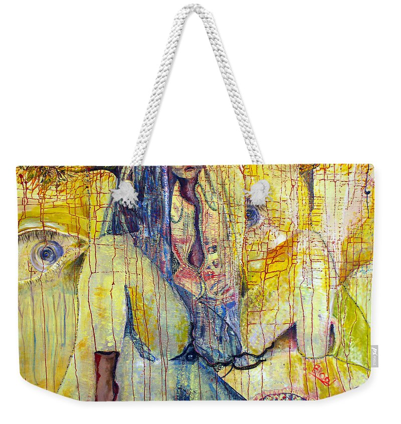 Portrait Weekender Tote Bag featuring the painting Roots by Peggy Blood