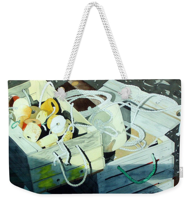 Ropes Weekender Tote Bag featuring the painting Ropes And Floats by Jim Gerkin