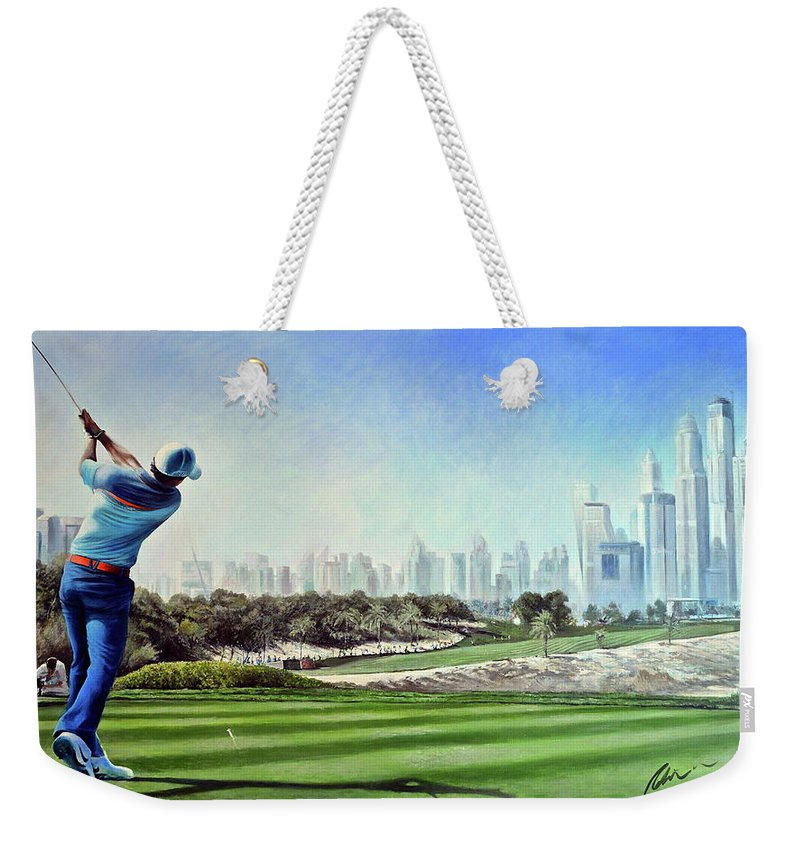 Rory Mcilroy Weekender Tote Bag featuring the painting Rory At Ddc Emirates Gc Dubai 8th 2014 by Mark Robinson