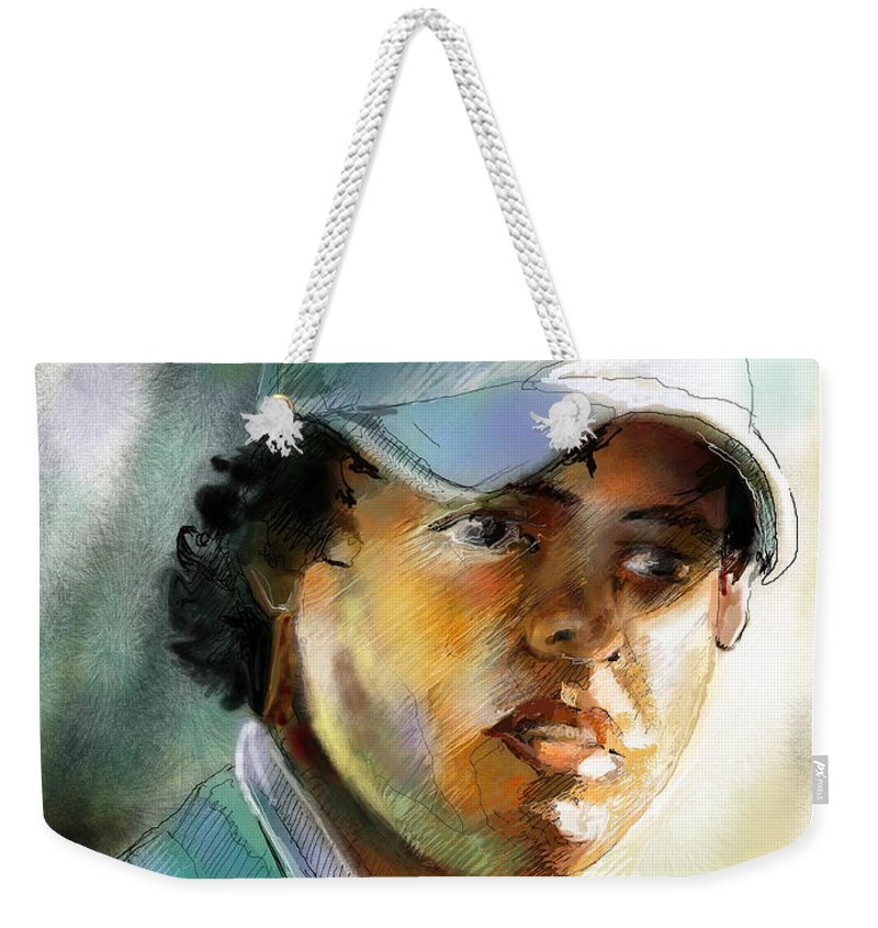Portrait Painting Golfer Golfart Rory Mcilroy Pga Tour Weekender Tote Bag featuring the painting Rory Mcilroy by Miki De Goodaboom