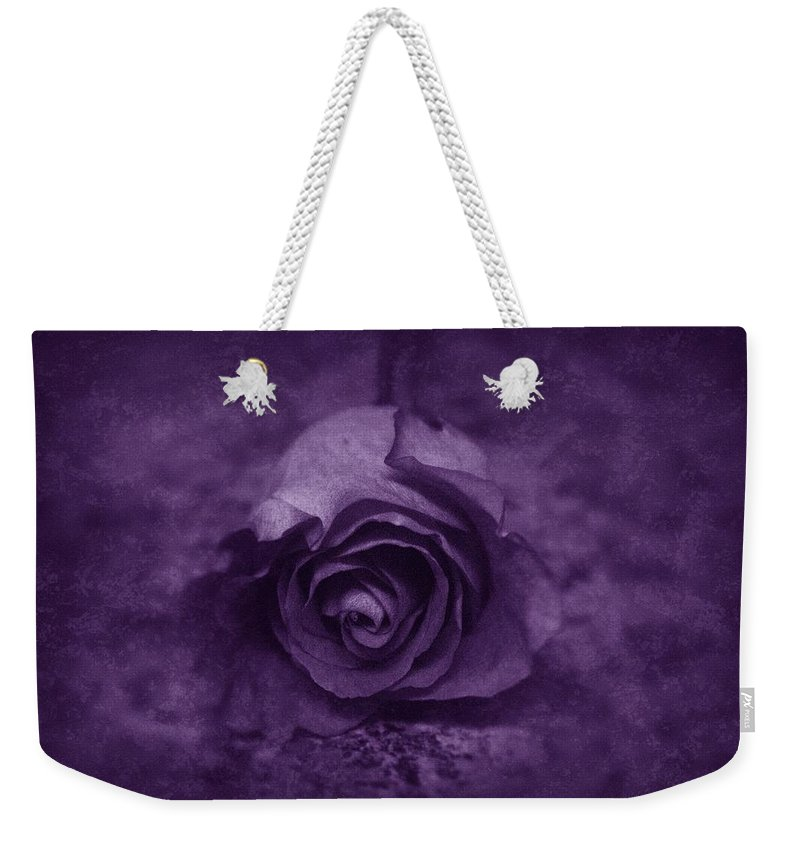 Purple Weekender Tote Bag featuring the photograph Rose - Purple by Angie Tirado