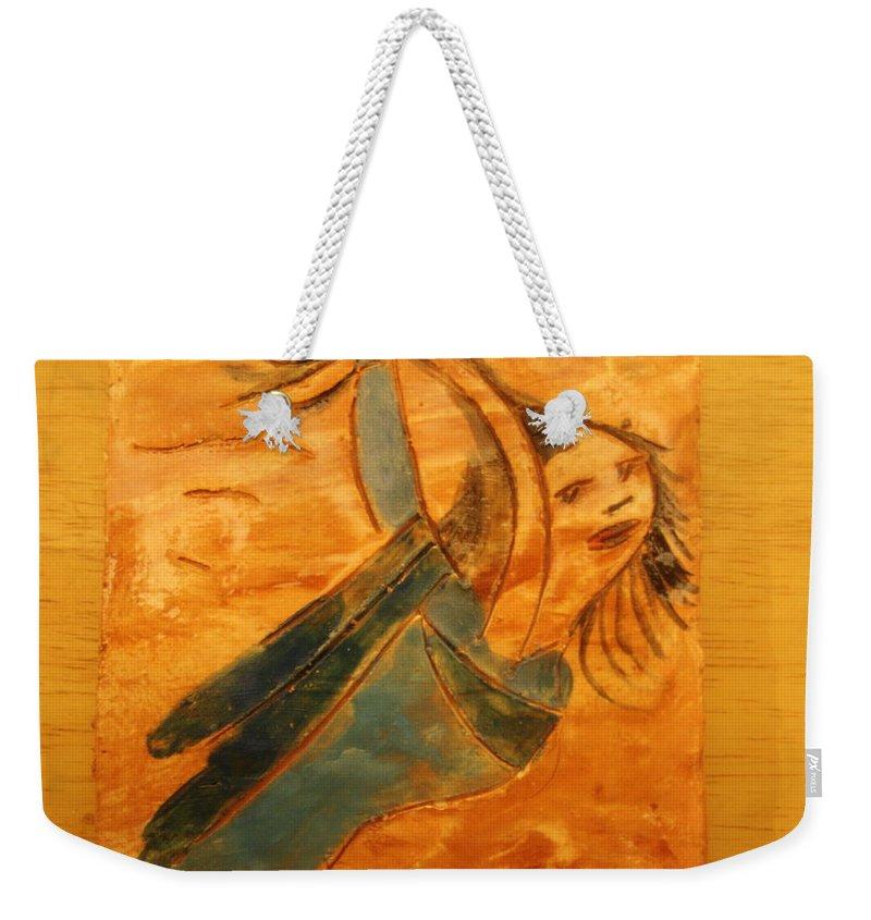 Jesus Weekender Tote Bag featuring the ceramic art Rose - Tile by Gloria Ssali