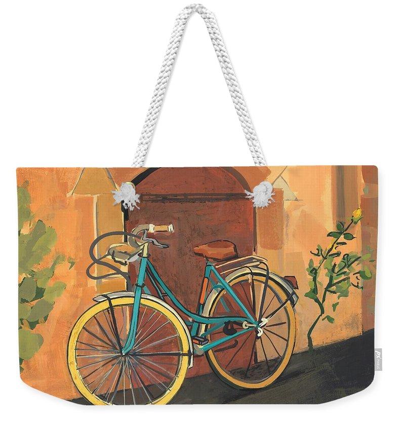 Bicycle Weekender Tote Bag featuring the painting Rose And Bicycle by Sarah Gillard