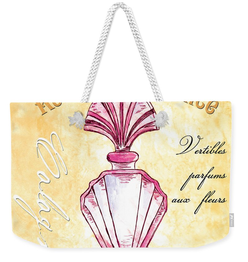 Perfume Weekender Tote Bag featuring the painting Rose De Provence by Debbie DeWitt