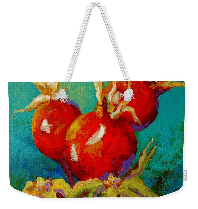Floral Weekender Tote Bag featuring the painting Rose Hips by Marion Rose