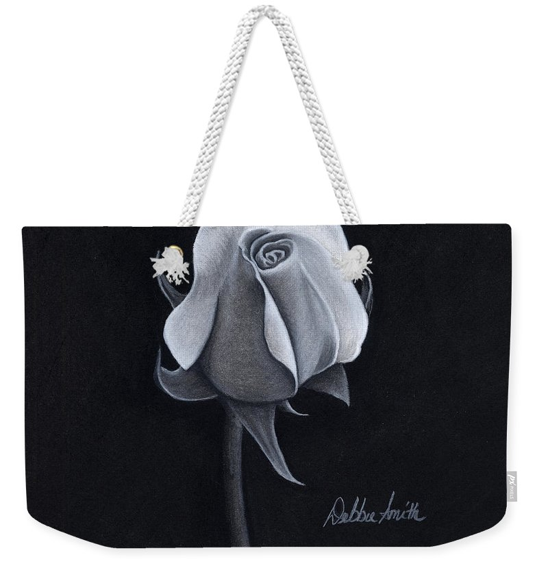 Black And White Drawing Weekender Tote Bag featuring the drawing Rose I by Debbie Smith