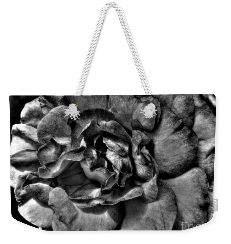 Rose Weekender Tote Bag featuring the photograph Rose In Black And White by Nina Ficur Feenan