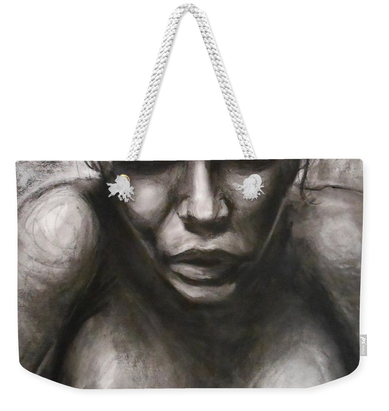 Emotional Weekender Tote Bag featuring the drawing Rose by Jason Reinhardt