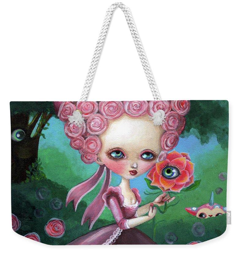 Marie Antoinette Weekender Tote Bag featuring the painting Rose Marie Antoinette by Akiko Okabe