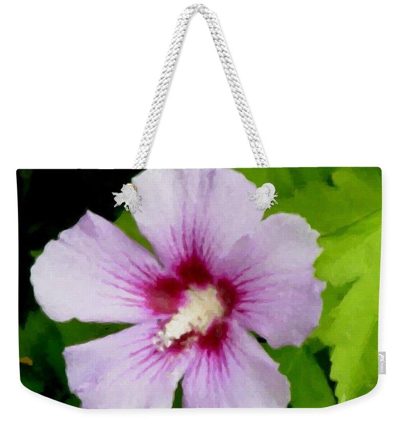 Flower Weekender Tote Bag featuring the digital art Rose Of Sharon Close Up by Anita Burgermeister