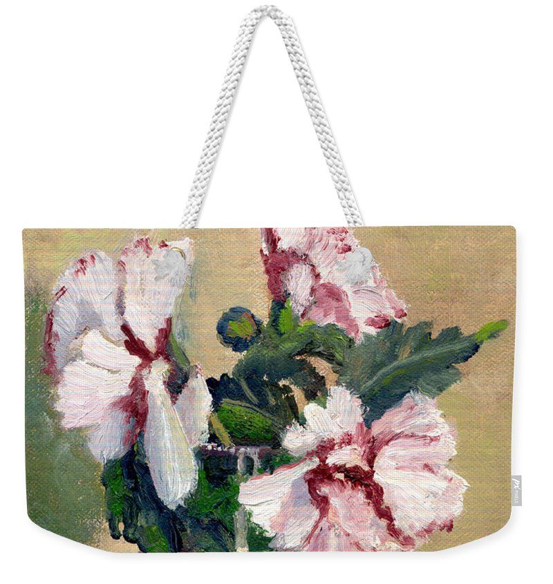 Impressionism Weekender Tote Bag featuring the painting Rose Of Sharon by Keith Burgess