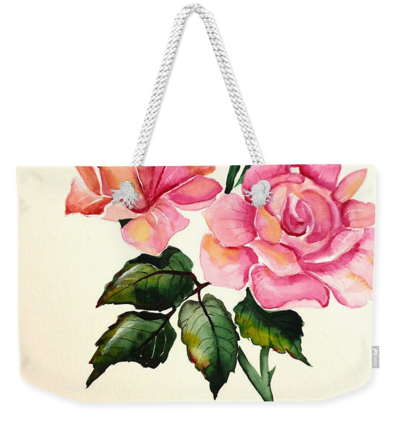 Rose Painting Weekender Tote Bag featuring the painting Rose Poem by Karin Dawn Kelshall- Best