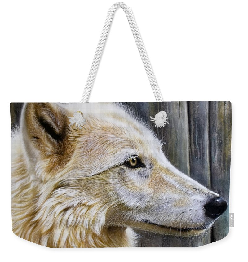 Wolves Weekender Tote Bag featuring the painting Rose by Sandi Baker