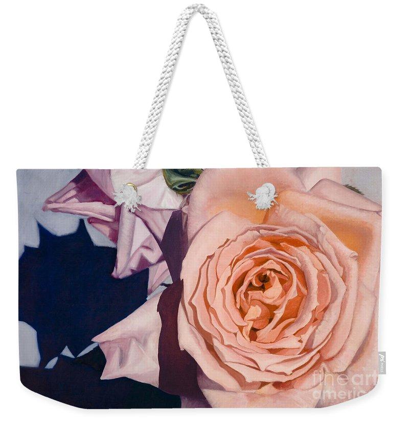 Roses Weekender Tote Bag featuring the painting Rose Splendour by Kerryn Madsen-Pietsch
