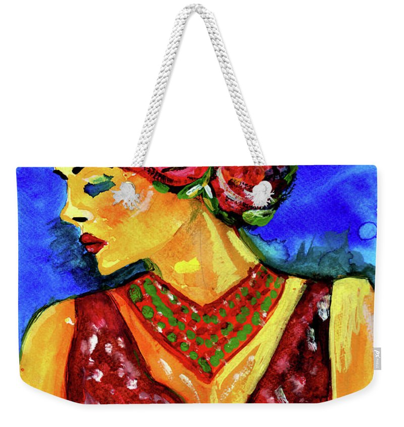 Salsa Weekender Tote Bag featuring the painting Rose by Stephanie Clarkson